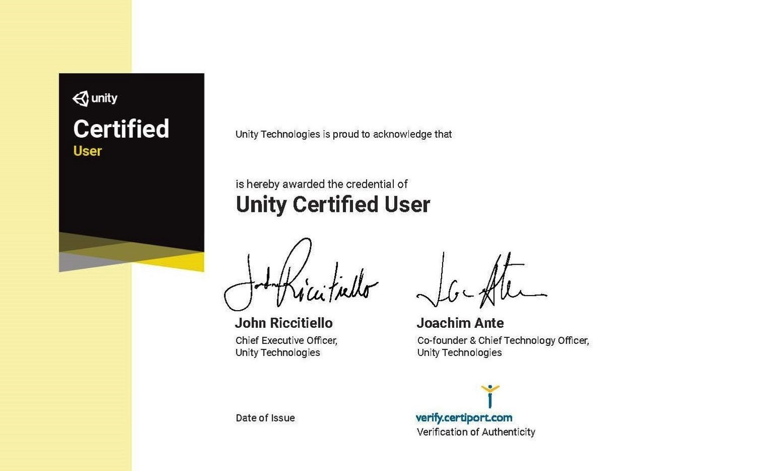 Unity Certified User (UCU)